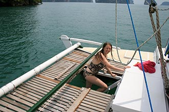 swim ladder on a Tiki 38