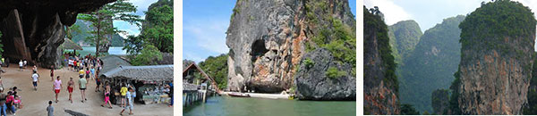 yacht charter visiting james bond island in phuket thailand with a catamaran